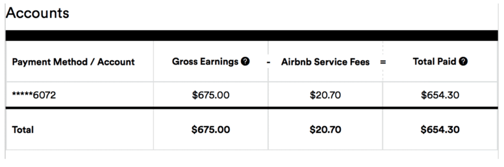 Airbnb 1099 form - Earnings and Fees