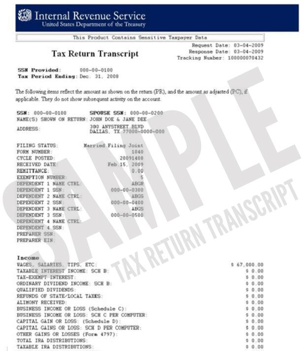 IRS Tax Transcirpts