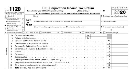 Corporate income tax return